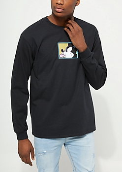 Black Spitting Mickey Mouse Long Sleeve Tee
