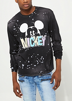 Black Paint Splatter Long Sleeve Mickey Mouse Tee
