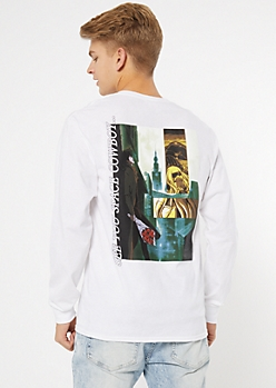 White Cowboy Bebop Long Sleeve Graphic Tee