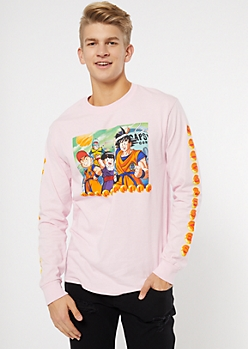 Pink Dragonball Z Long Sleeve Graphic Tee