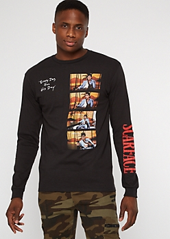Black Long Sleeve Scarface Quote Graphic Tee
