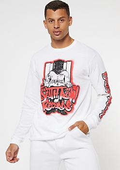 White Airbrush Death Row Records Long Sleeve Graphic Tee