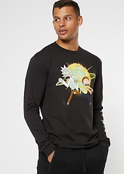 Black Rick And Morty Explosion Long Sleeve Graphic Tee