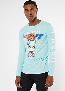 Mint Fresh Drip Bear Long Sleeve Graphic Tee