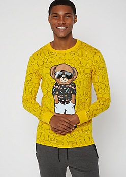 Yellow Savage Drip Bear Long Sleeve Graphic Tee
