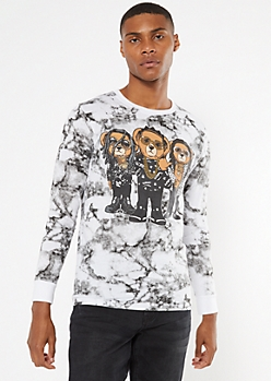 White Marbled Bear Long Sleeve Graphic Tee