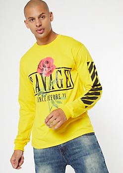 Yellow Savage Rose Striped Graphic Tee