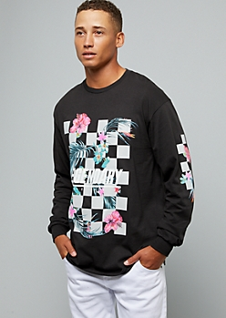 Black Checkerboard Legendary Long Sleeve Graphic Tee