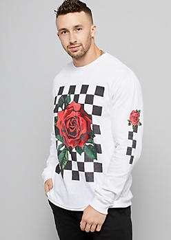 White Rose Checkered Long Sleeve Tee