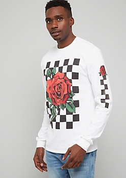 White Checkered Print Rose Long Sleeve Graphic Tee