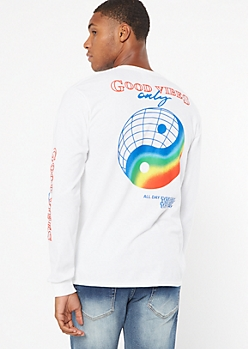 White Rainbow Globe Good Vibes Graphic Tee