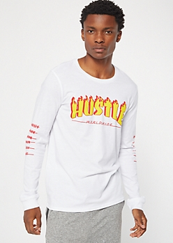 White Flaming Worldwide Hustle Graphic Tee