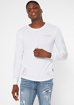 White Open your Mind Long Sleeve Graphic Tee
