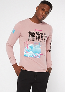 Pink So It Is Wave Long Sleeve Graphic Tee