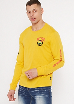 Yellow Make Peace Rose Graphic Tee