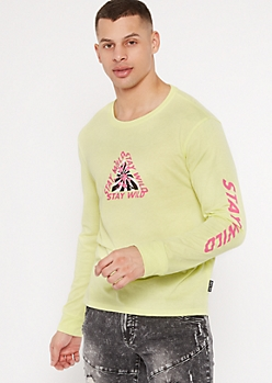 Neon Yellow Stay Wild Cherry Blossom Graphic Tee
