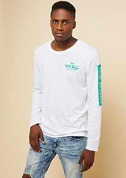 White New York State of Mind Long Sleeve Tee
