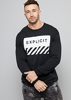 Black Graphic Explicit Long Sleeve Tee