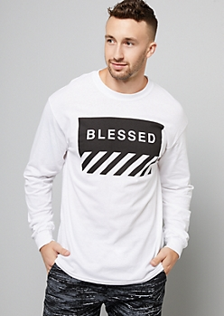 White Graphic Blessed Long Sleeve Tee