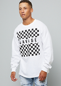 White Checkerboard Savage Long Sleeve Graphic Tee