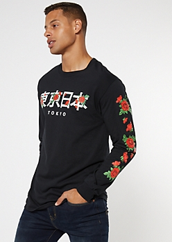 Black Kanji Rose Long Sleeve Graphic Tee