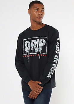 Black Drip Money Long Sleeve Graphic Tee