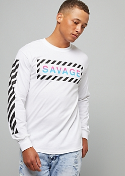 White Ombre Savage Side Striped Graphic Tee