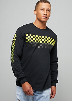 Black Ombre Yellow Checkered Print Long Sleeve Graphic Tee