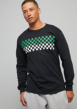 Black Ombre Green Checkered Print Long Sleeve Graphic Tee
