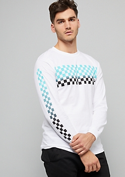 White Ombre Checkered Print Side Striped Graphic Tee