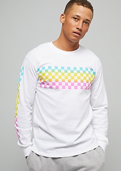 White Checkered Print Rainbow Long Sleeve Graphic Tee
