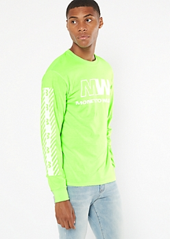 Neon Green Money To Waste Graphic Tee