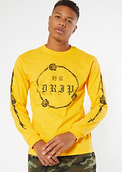 Yellow Barbed Wire Rose Drip Graphic Tee