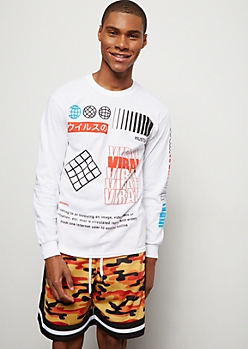 White Viral Mix Long Sleeve Graphic Tee