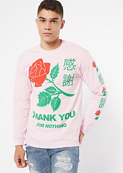 Pink Thank You For Nothing Kanji Graphic Tee