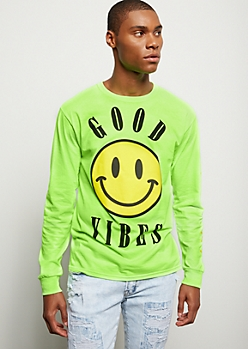 Neon Green Kanji Good Vibes Graphic Tee