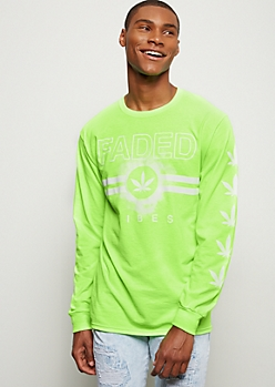 Neon Green Faded Vibes Weed Print Graphic Tee