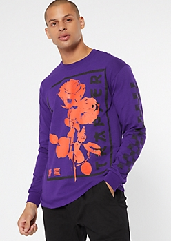 Purple Kanji Rose Print Long Sleeve Graphic Tee