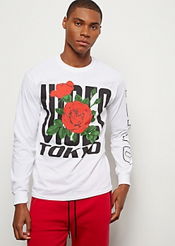 White Rose Tokyo Vibes Long Sleeve Graphic Tee