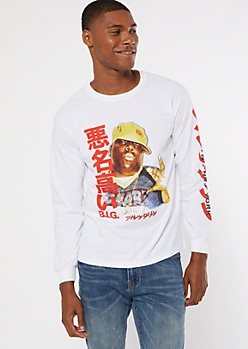 White Kanji Biggie Long Sleeve Graphic Tee