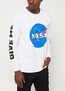 White Give Me Space NASA Long Sleeve Tee