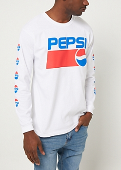 White Pepsi Logo Long Sleeve Tee