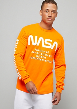Orange NASA Side Striped Long Sleeve Graphic Tee