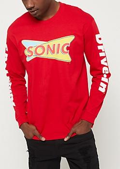 Red Sonic Long Sleeve Tee