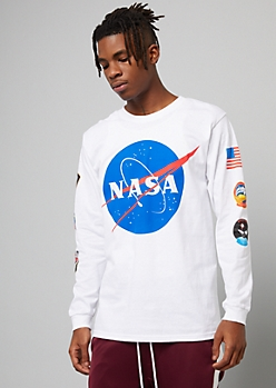 White NASA Side Patch Long Sleeve Graphic Tee