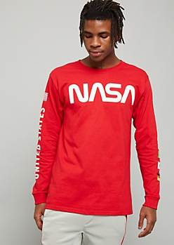 Red NASA Flag Long Sleeve Graphic Tee