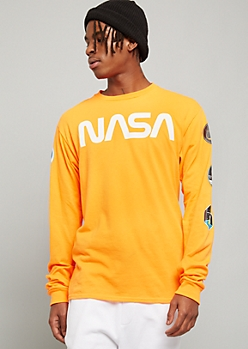 Neon Orange NASA Long Sleeve Graphic Tee