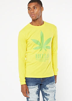 Yellow Weed Print Long Sleeve Graphic Tee