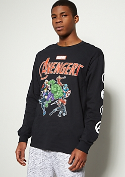 Black Marvel Avengers Graphic Tee