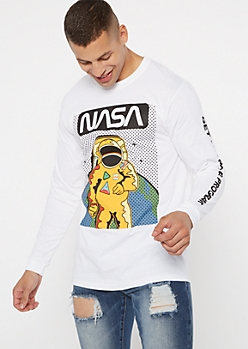 White NASA Get With The Program Graphic Tee